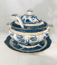 Booths Real Blue Willow Soup Tureen Ladle & Platter Crock Porringer Pot