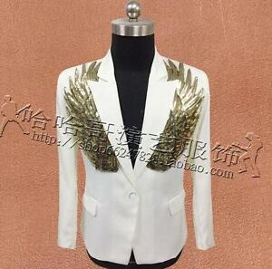 Mens Formal Bling Sequins Wing Lapel Slim Blazers Jackets Stage Show Suit Coats
