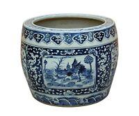 Chinese Vintage Finish Blue White Porcelain Birds Round Pot Planter cs3519