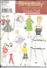 """11 1/2"""" 1960s Fashion Doll Clothing Patterns Simplicity #5785 UNCUT"""