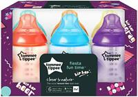 ***New Tommee Tippee 6x FIESTA 260ml/ 9oz Baby Feeding Bottles 0m*** Box Damage