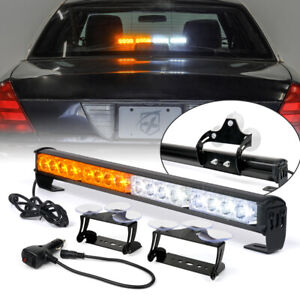 """18"""" LED Strobe Light Bar Interior Dash Traffic Advisor Driving Lamp Amber White"""