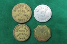 set of 4 Mason City IOWA merchant tokens Good for 2 1/2¢ and 5¢ in Trade