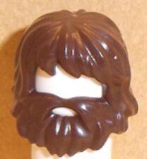 Lego Minifig Hair Beard Combo x 1 Dark Brown Wig & Beard with Mouth Hole