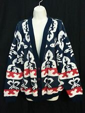 Vtg 80s Cabin Creek Women Sweater Jacket Cardigan Red Wh Blue Patriotic Disco L