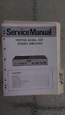 Proton 520 service manual original repair book stereo amp amplifier