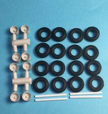 HO 1/87 A-Line # 50003 2-Hole Trailer Disc Wheels w/axles & Tires (8 pcs.)