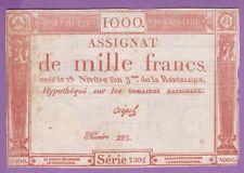 ( Ref:AS 8 ) ASSIGNAT DE 1000 FRANCS 18 NIVÔSE L'AN 3