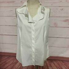Lafayette 148 white Casual sleeveless blouse ruffle collar size 14 button front