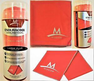 """Mission Endura Cooling Towel Large 13"""" x 37"""" High Visibly Coral NEW!"""