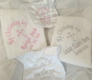 Personalised Embroidered Christening Baptism Naming Blanket Shawl & Bib White
