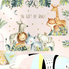 Removable Wall Sticker Kids Nursery Safari Jungle Animals Watercolour Decal DIY