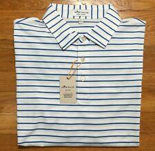 Peter Millar Crown Sport Summer Comfort Polo Golf Shirt Men's Xl White Striped
