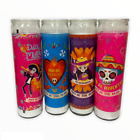 DIA DE LOS MUERTOS Day of the Dead Glass Jar Candles, 8-in.; Set of 4 Candles