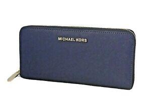 Michael Kors Blueberry Jet Set Travel Zip Around Continental Clutch Wallet