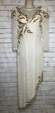 Lillie Rubin White Gold Sequined Beaded Silk Evening Party Dress Sz 4 Bride