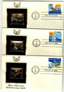 3 Gold Foil FDC - Space Shuttle on monarch size cover by Postal History Society
