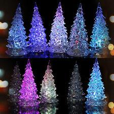 7 Color Changing LED Lamp Light Acrylic Christmas Tree Crystal Desk Decor