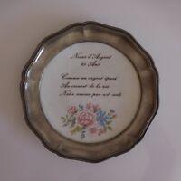 Plato Bodas Plata Porcelana Estaño Limoges Arte Nuevo Deco Siglo Xx Pn Francia