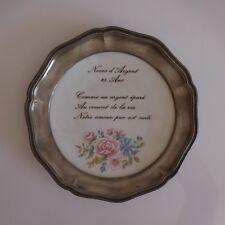 Assiette Noces d'argent porcelaine étain Limoges art nouveau déco XXe PN France