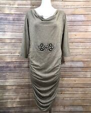 VENUS Draped Fitted Dress XL Beige Gold Metallic Ruched Embellished 3/4 Sleeve