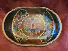 VINTAGE WOODEN OVAL TRAY SCALLOPED w/HANDLES HAND PAINTED FLOWERS LOVELY
