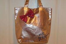 Betsey Johnson Metallic Rosegold HEART SKULL Pink Sequin Bow Shopper Tote Bag