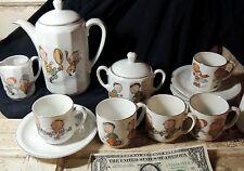 Antique vtg c1900 German Porcelain Child Tea Set Pot Cup Sports Football Marbles