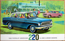 1963 Chrome Car Advertising Postcard: Rambler American 220 Sedan