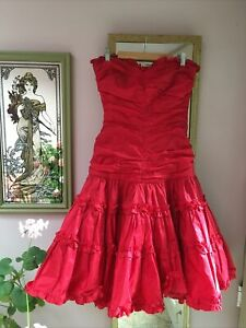 Vintage 80s Strapless Red Silk Taffeta Dress, Lorcan Mullany, Bridal/Ball/Punk