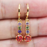 18K Yellow Gold Filled Women Rainbow Ruby Topaz Gemstone Drop Earrings Jewelry