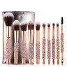 10pcs Rose Golden Glitter Handle Foundation Brush Set Makeup Brushes
