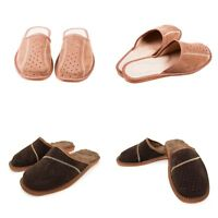 Mens Natural Suede Leather Slip On Slippers Size 6 7 8 9 10 11 12 Gents Mules