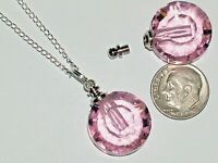 1pc Glass Round pendant cremation urn ashes bottle Screw cap NECKLACE * Pink