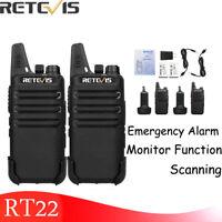 2XRetevis RT22 Walkie Talkies 2W UHF462-467MHz 16CH TOT VOX Scan Squelch Radio