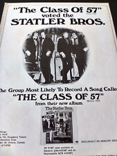 """STATLER BROTHERS """"The Class Of 57""""  1972  Original Promo Poster Ad"""