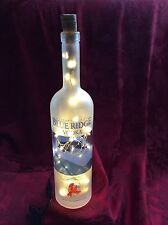 NEW Bling Electric LAMP 750ml BLUE RIDGE Vodka Empty LIQUOR BOTTLE White LED's