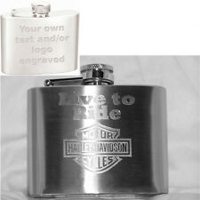 4oz Personalized Hip Flask - Your Text/Logo Custom Engraved - Gift, Weddings