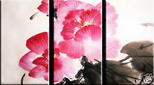 SPLIT CANVAS ART 3 PANEL ASIAN FLORAL PAINTING PINK A1+