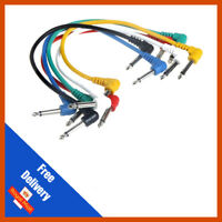 6 X 90 Degree 60cm Guitar FX Pedal Effects Patch Cable Lead 1/4 Jack