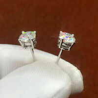 2Ct Round Brilliant Cut Moissanite Solitaire Stud Earring 14K White Gold Finish