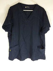 Four Stretch Womens Plus Size 2X Dark Blue Stretch Scrub Top Cap Sleeves
