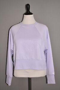 NIKE NEW $65 Dri-FIT Lux Embossed Cropped Sweatshirt in Light Purple Medium