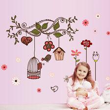 Flower, Bird, Birdcage Wall Stickers. Pink. Girls Bedroom, Nursery, Kitchen Tree
