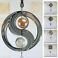 New 3D Metal Hanging Wind Spinner Wind Chime Tail Glass Ball Center Decor
