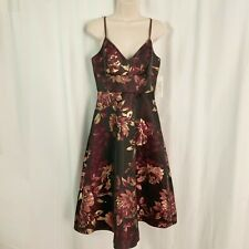 Eliza J 4 Small Floral Midi Dress Wine Purple Gold Metallic A-Line NEW $208