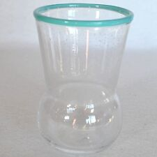Paola Navone Fish Bubble Glass Turquoise Rim Small Vase Juice Cup Tumbler Flared