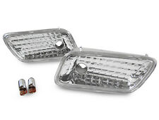 96-02 Mercedes W210 E Class Crystal Clear Bumper Side Marker Light +Chrome Bulbs