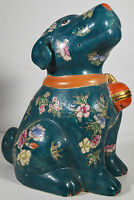 """9"""" Vintage Hand Painted Asian Chinese Green Dog Puppy Relief Ornate Flowers"""