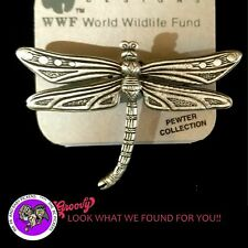 """JJ"" Jonette Jewelry Silver Pewter 'DRAGON FLY' Detailed Pin BROOCH USA"